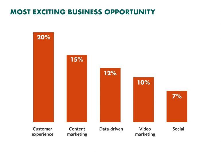 Grafiek met de 'most exciting business opportunities' waarbij CX op nummer 1 staat.