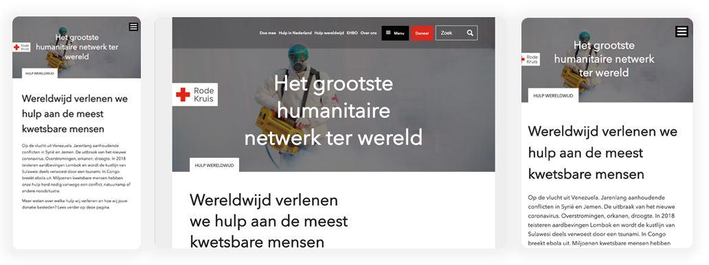 Screenshot van hoe het Rode Kruis je informeert over doneren