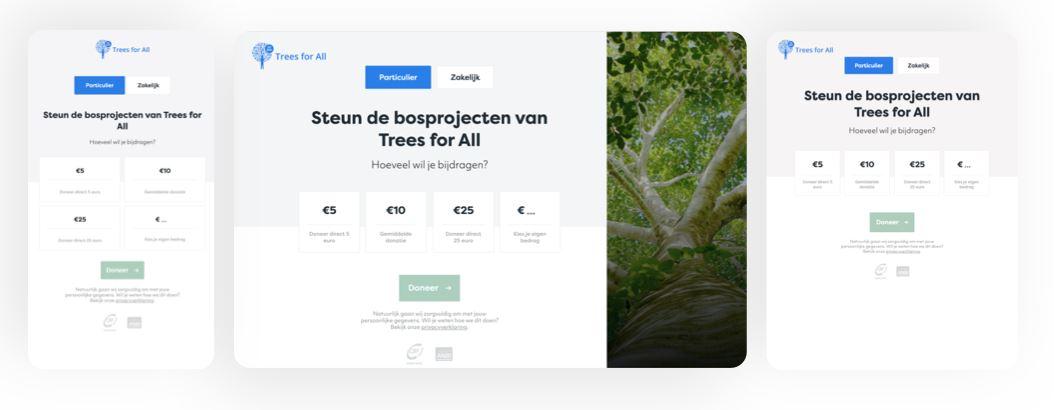 Screenshot van hoe Trees for All een frictieloze donatieflow heeft.