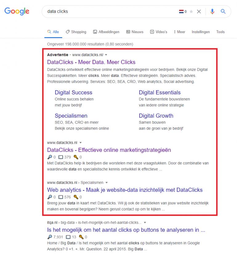 Screenshot branded search ad DataClicks adverteren op bedrijfsnaam