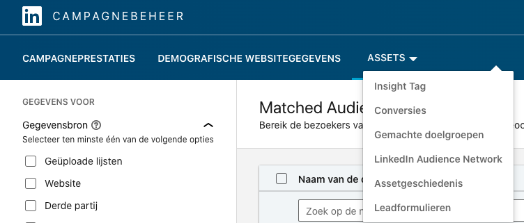 Functie gematchte doelgroep LinkedIn