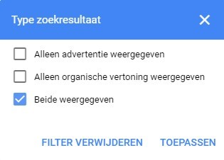 Screenshot van het Type zoekresultaat met aangevinkt 'Beide weergeven' voor de koppeling SEO en SEA.