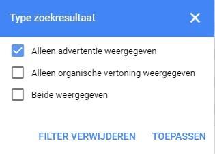 Screenshot met type zoekresultaat en aangevinkt 'Alleen advertentie weergeven' voor de koppeling SEO en SEA.