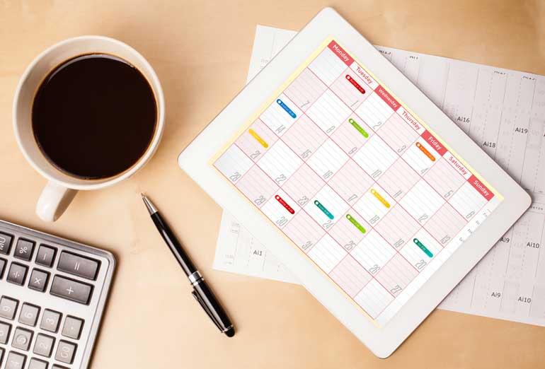 Kalender op tablet.