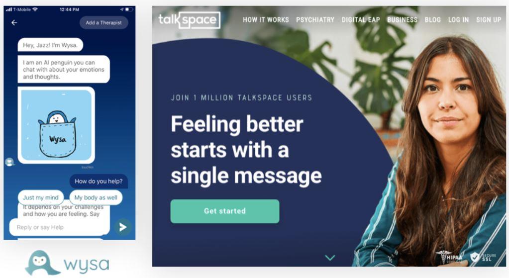 Apps Wysa en TalkSpace.