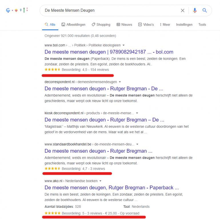 Rijkere resultaten Google structured data.