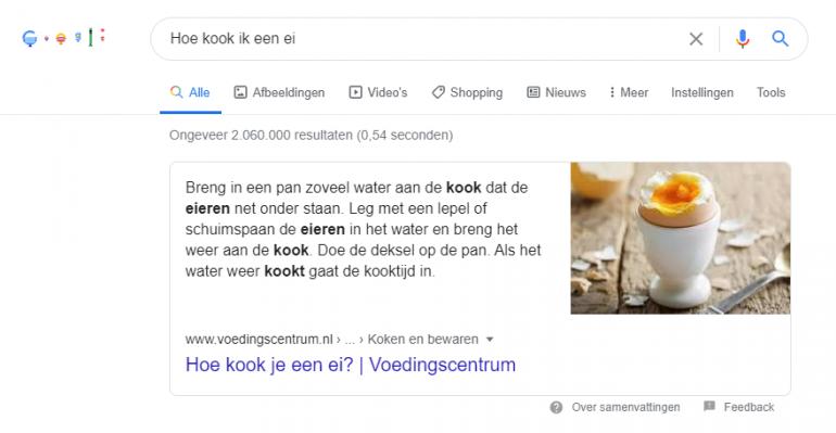 Google featured snippet ei.