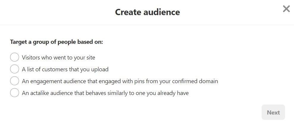 Pinterest trargeting opties doelgroep creëren
