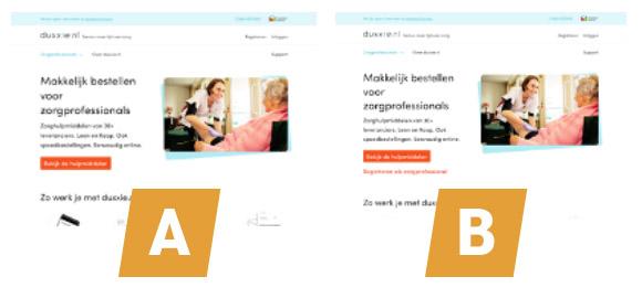 Secundaire call-to-action bij duxxie.nl