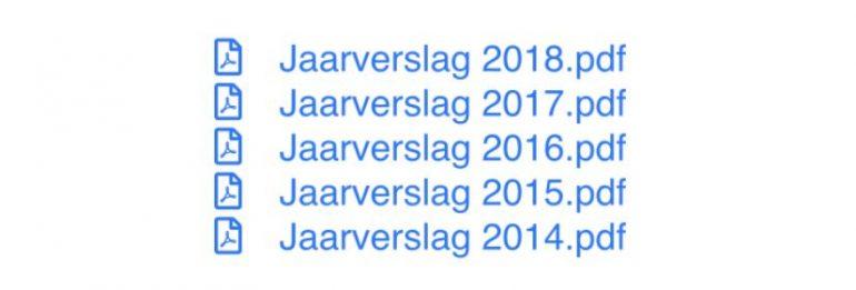 Rijtje downloads met jaarverslagen