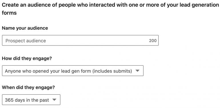 remarketing linkedin lead gen forms