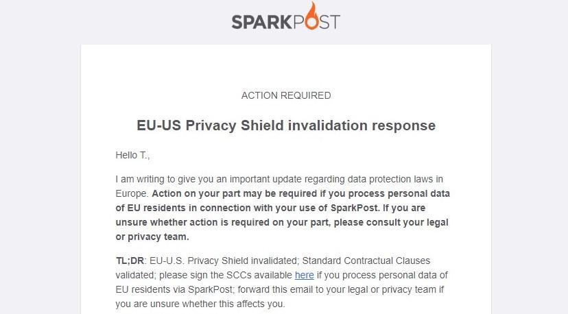 E-mail van Sparkpost over SCCs en Privacy Shield