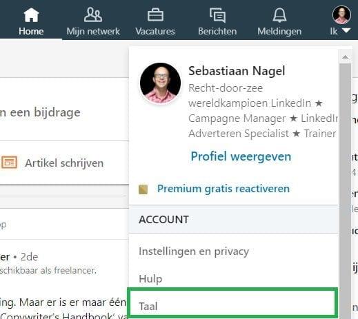 LinkedIn taal aanpassen