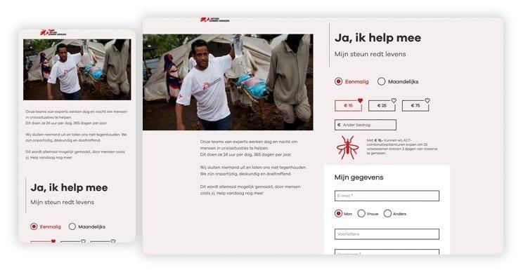Donatiepagina Artsen zonder Grenzen.