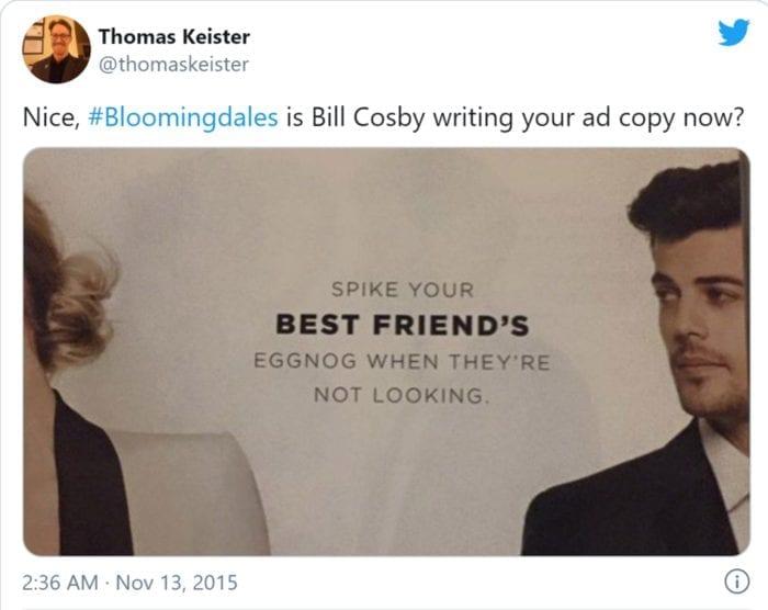 Warenhuis Bloomingdales krijgt kritiek op social media omdat het klanten aanspoort tot verkrachting