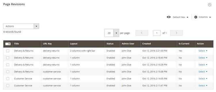 Screenshot van CMS Revisions.