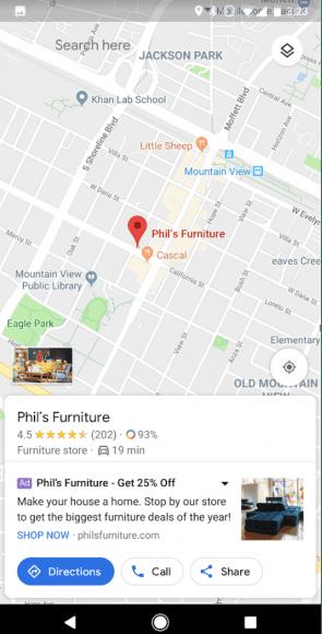 Voorbeeld van een lokale campagne op google maps.