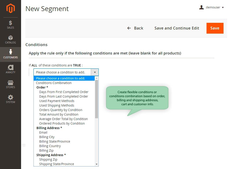Screenshot van Advanced Customer Segments.