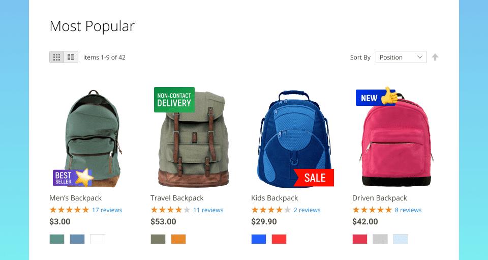 Screenshot van Product Labels.