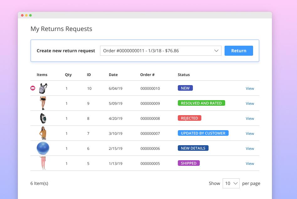 Screenshot van Return Management Administration (RMA).