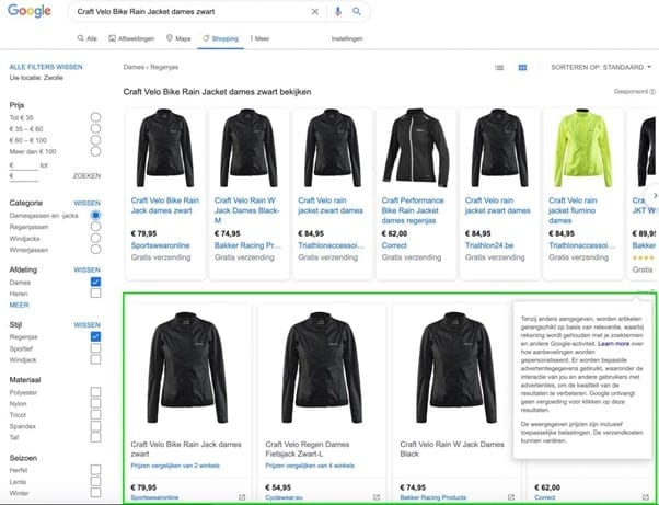 Google Shopping-resultaten.