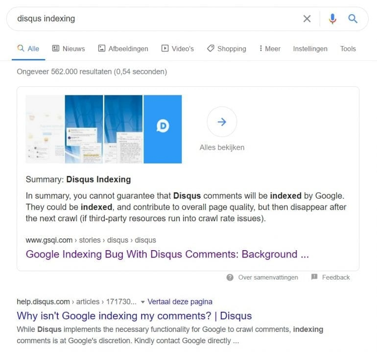 Web Stories 'Disqus Indexing'