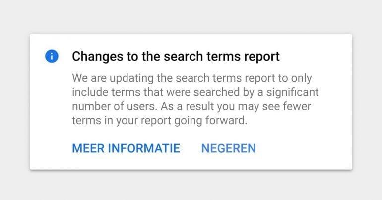 Google Ads zoektermen melding