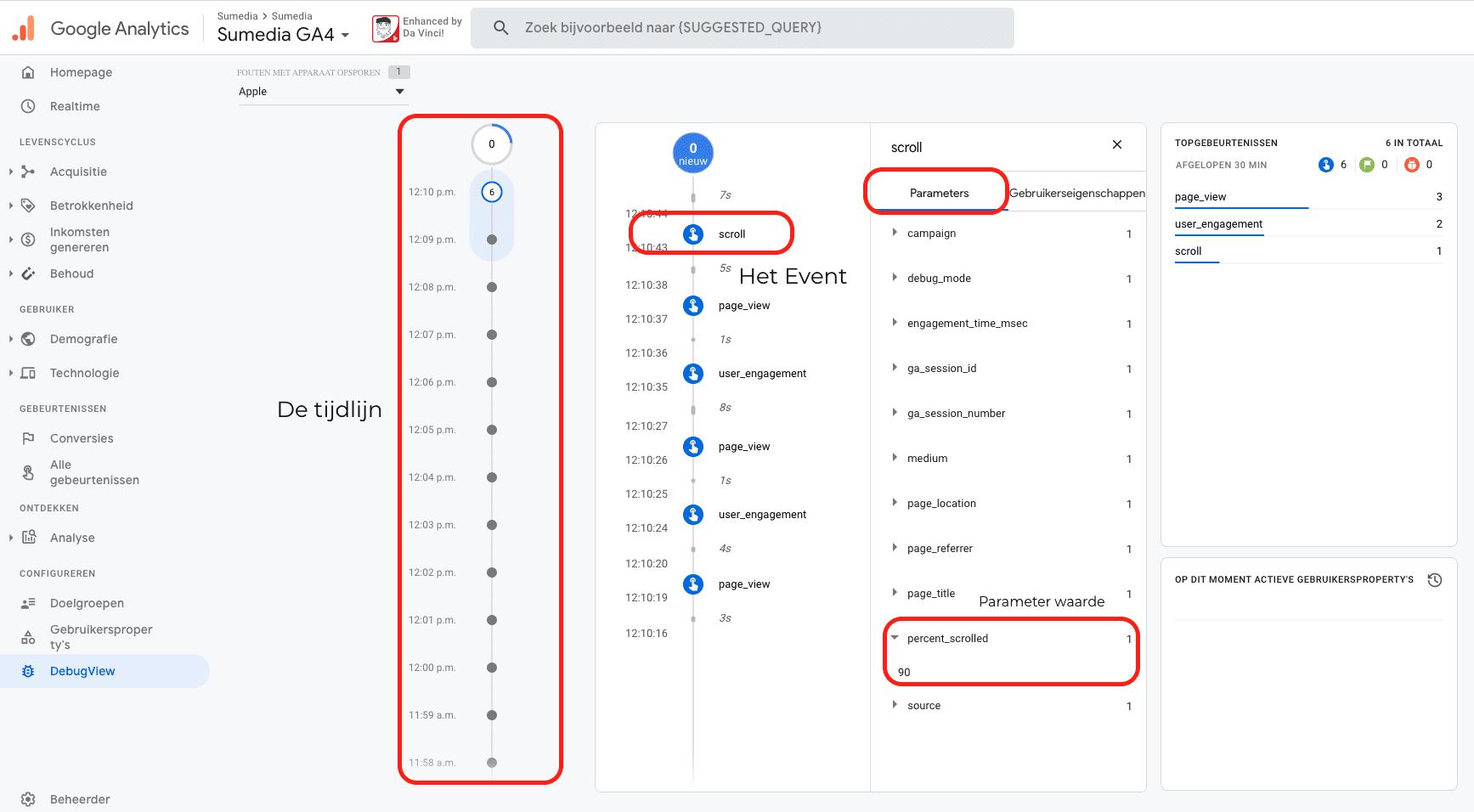 Overzicht GA4 meting scrollen.