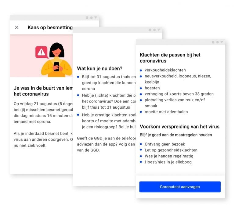 Coronamelder screenshots: kans op besmetting en test aanvragen.