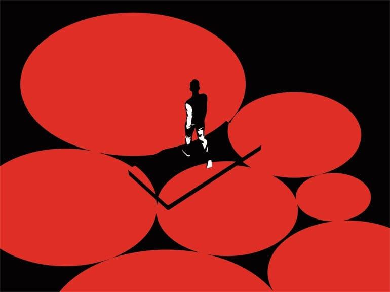 Illustratie van man die over telefoon en grote rode cirkels loopt.