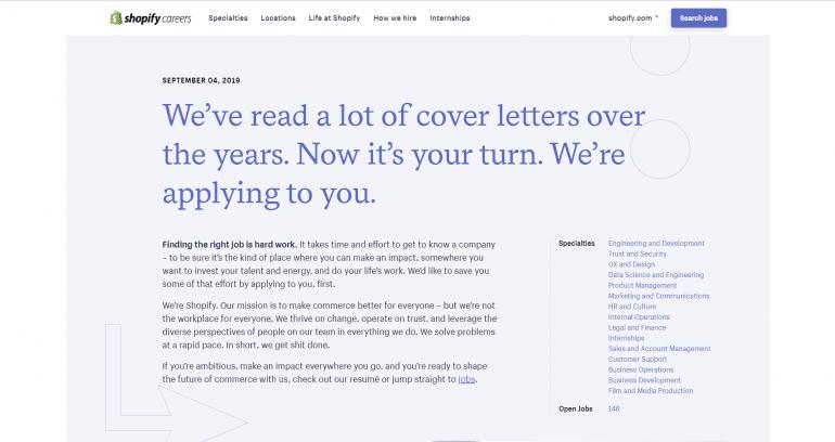 Content voor het employer brand van Shopify.