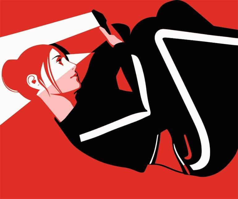 Illustratie van vrouw die op haar smartphone kijkt.