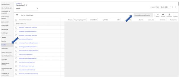 Locaties vinden in nieuwe interface Google Ads.