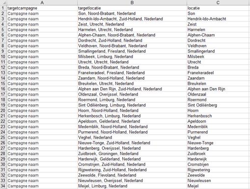 Feedbestand Excel voor locaties in Google Ads.