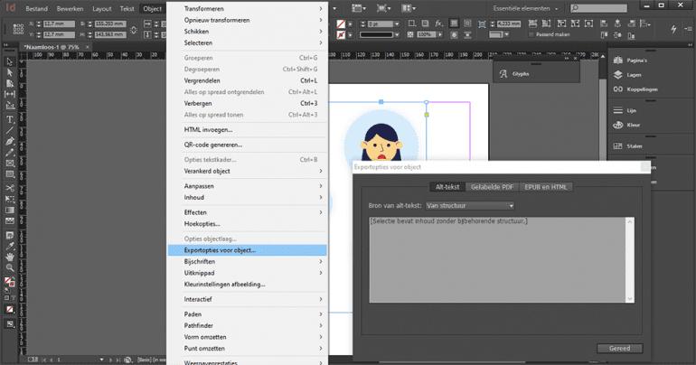 Scherm om alternatieve tekst aan afbeeldingen toe te voegen in InDesign