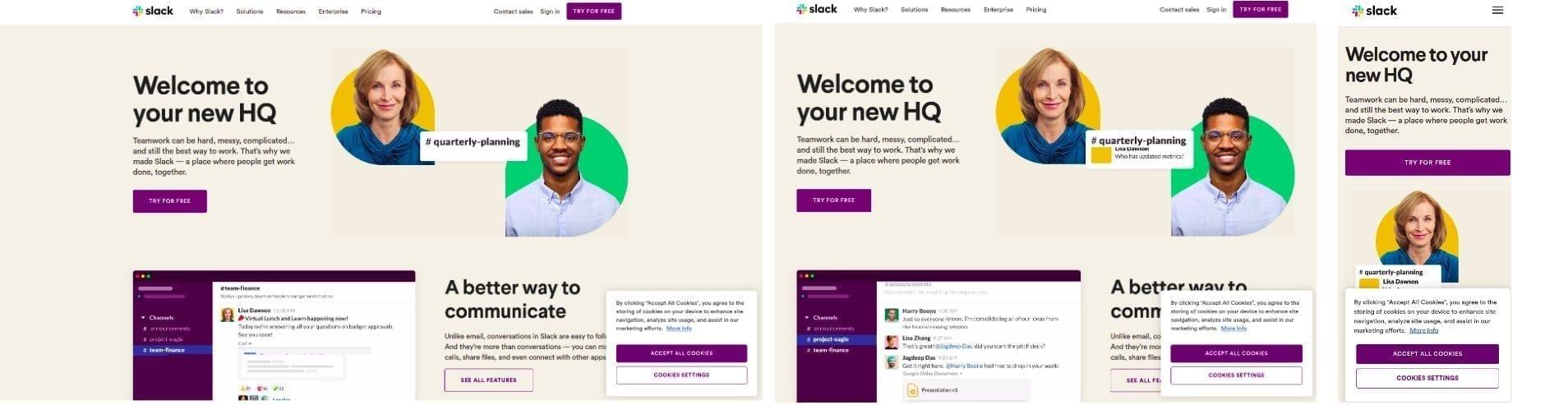 Responsive web design voorbeeld slack