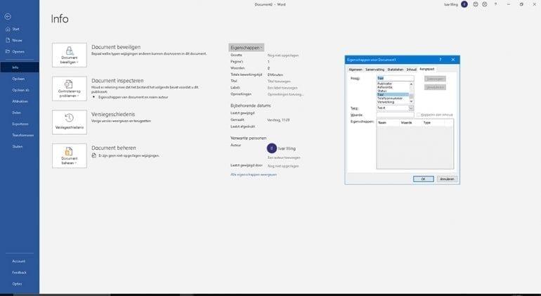Scherm voor instellen van documenttaal in Word, zodat je het document toegankelijk maakt.