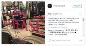 Instagrampost van Victoria Secret die het startsein gaf voor de selfiecampagne.