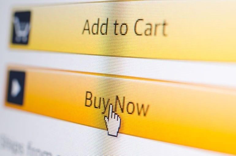Buy now-knop op scherm.