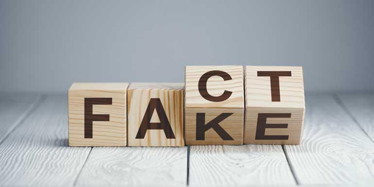 Blokken met letters fake en fact.