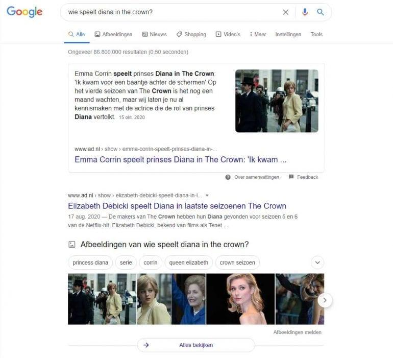Google Knowledge graph voorbeeld met The Crown.