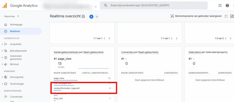 Screenshot: Controleer of je gebeurtenis doorkomt in het realtime rapport van GA4