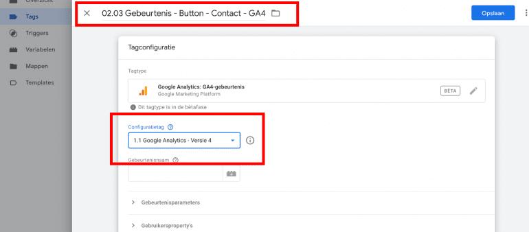 Screenshot: Selecteer de configuratietag