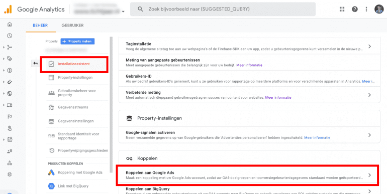 Screenshot: Screenshot: GA4 property koppelen aan Google Ads