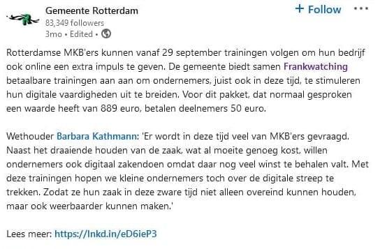 LinkedIn-post Gemeente Rotterdam