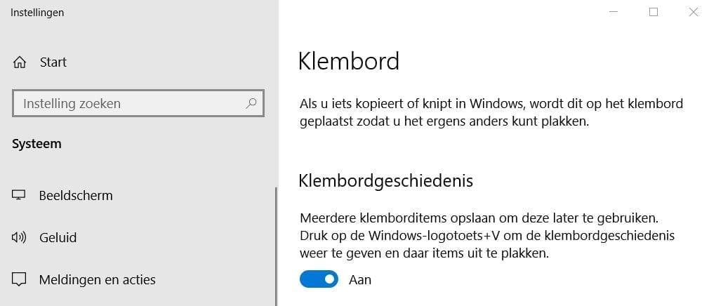 Een screenshot van de klembord-tool.