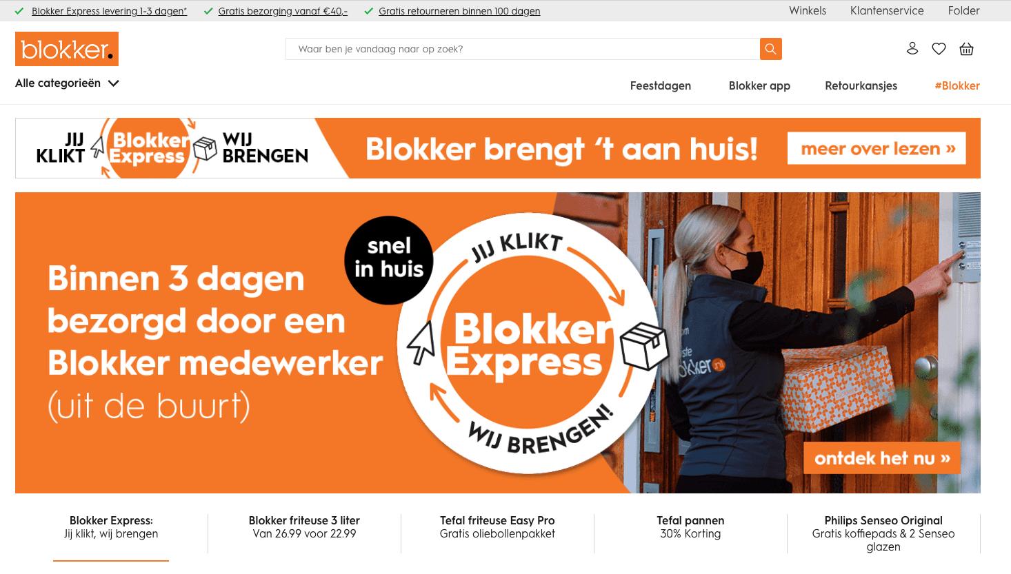 Screenshot van de website van Blokker.