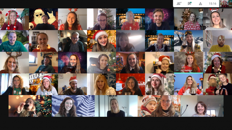 Online kerstborrel van Frankwtaching-team.