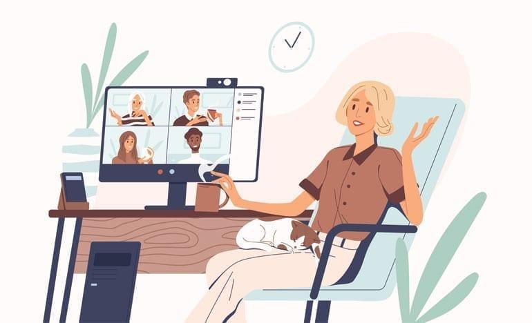 Illustratie van informele videocall vanuit huis.