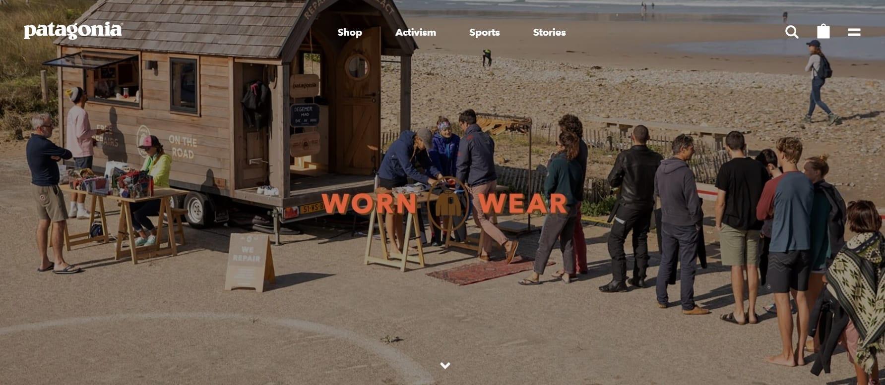 Patagonia website, een innovatief businessmodel.